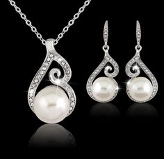 Luxury Bridal Party Jewelry Sets Pearl Necklace Set Chain Necklace Earrings silver Plated Jewelry Set For Women