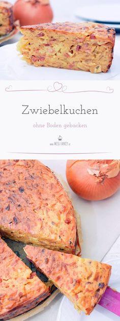 Hier ist ein Rezept von einem einfachen und superleckeren Zwiebelkuchen ohne Boden! #Zwiebelkuchen