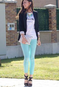 outfits con jeans de colores - Buscar con Google