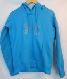 Under Armour Hood Pullover Women Blue Medium M Gold Gear Semi Fitted X Storm  #UnderArmour #HoodedPullover
