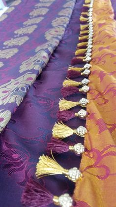 Saree Tassels Designs, Saree Kuchu Designs, Blouse Designs, Saree Blouse, Sari, Saree Border, Embroidery Saree, Indian Party, Silk Thread