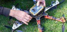 A drone for detecting radiation, built at Safecast hackathon with consumer electronics.