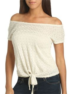 Crochet Tie Front Top     Style Number: 45484797     Was $39.00     Now $29.99     Final Sale