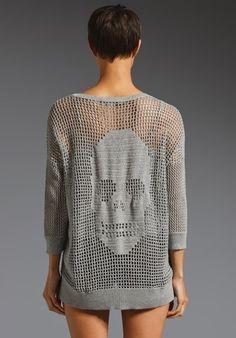 Филейное вязание крючком. Пуловер с черепом (1) (360x516, 90Kb)