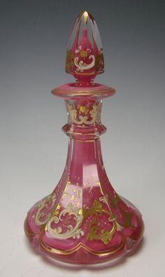 Antique Bohemian Pink Cased Enamel Painted Scent Perfume Bottle