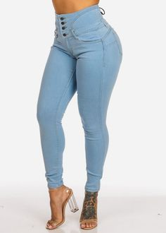 4fb0d00df56 High Rise 4 Button Butt Lifting Back Lace Up Light Wash Skinny Jeans