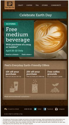 Pinned April 22nd: Free coffee with your mug today at Peets Coffee & Tea coupon via The Coupons App