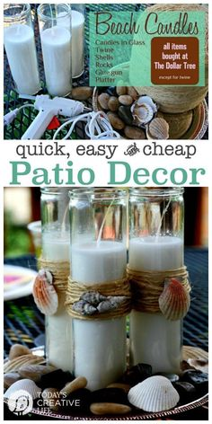 Outdoor Decorating/Gardening :     Nautical Beach Theme Candles  Easy Patio Decor   Easy Crafts for your outdoor entertaining all from the Dollar Store. See the tutorial on TodaysCreativeLif…    -Read More –