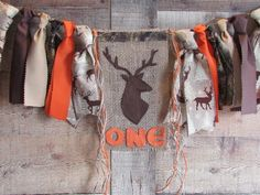 Deer Head Antler High Chair Banner Lumberjack First Birthday Woodland Highchair Garland Camo Orange Hunting Little Hunter Wild One Photo Hunting Birthday, Pumpkin Photos, Ribbon Garland, First Birthday Photos, Camping Parties, High Chair Banner, Oh Deer, Jute Twine, Wild Ones