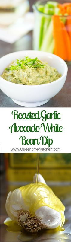 Roasted Garlic Avocado White Bean Dip - Vegan, gluten-free and infused with fresh basil. Packed with protein, fiber and only 111 calories per 1/4 cup serving.