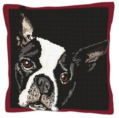Pixie Tapestry Kit - Brigantia Needlework. Cute dog tapestry kit design by Brigantia Needlework - reminds us of a Boston terrier or Boxer breed.