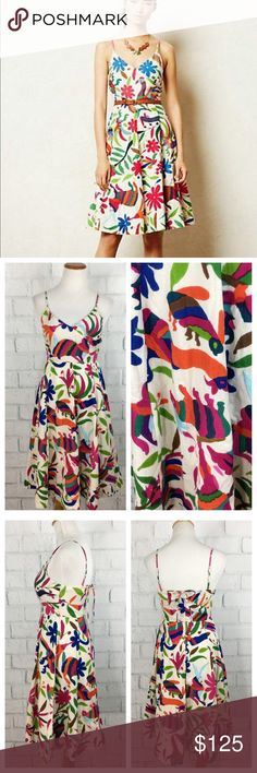 """Anthropologie Mexican Otomi Folk Dress Runs Big! Anthropologie Vanessa Virginia Hand Embroidered Mexican Otomi Folk Art Dress.  All dresses have a different print. It has pockets. Back zip with eye and hook one hook has pulled at the lining. See pics. No other imperfections. Size 0 runs a tad big would fit a 2-4. Cotton, spandex fully lined Preowned has a pull where the hook is on inside.  0419 Measurements Flat Bust 16 Length from top of bust 35"""" Waist below bust 13 Adjustable straps Bundle…"""