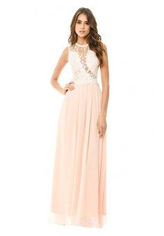 0e283ecd0608 αέρινο dreamy maxi φόρεμα δαντέλα σε peach | Για αγορά πατήστε πάνω στην  εικόνα