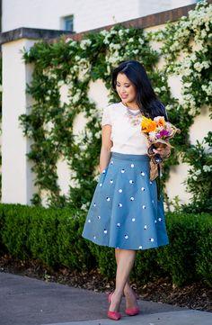 cute & little blog | petite fashion | eshakti teal polka dot flare skirt | stella dot statement riviera necklace, m.gemi cammeo coral pumps | spring outfit