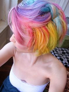 10 Emo Pixie Cuts Pastel rainbow hair - Station Of Colored Hairs Short Rainbow Hair, Pastel Rainbow Hair, Multicolored Hair, Colorful Hair, Pastel Pixie Hair, Bright Hair, Bright Yellow, Funky Hairstyles, Pretty Hairstyles