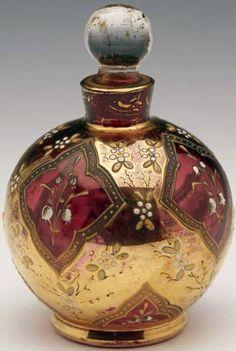 Flacon à Parfum - Forme Boule - Cristal de Bohème - 19ème Siècle