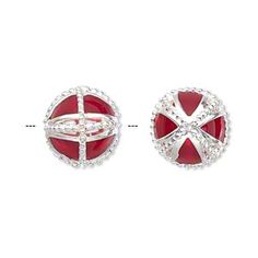Bead, silver-plated brass and enamel, transparent red, 13mm hollow round with beaded X design and center rim. Sold individually.