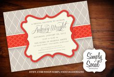 Red and Grey Baby Shower Bridal Shower Invitation. $18.00, via Etsy.