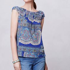 """Anthropologie Smocked Tank Anthropologie Meadow Rue Smocked Tank • SZ S • 100% cotton • Can be worn off the shoulder • Print could be described as boho/bohemian/paisley/ethnic/Moroccan • Length 25"""" • Chest 17"""" • Slightly flowy through body • Excellent condition Anthropologie Tops Tank Tops"""