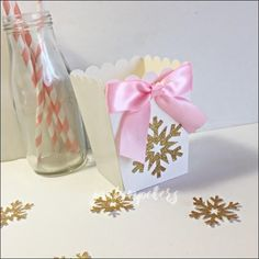 Winter Wonderland Party Gold Glitter Snowflake Popcorn Favor Boxes Set Of 10