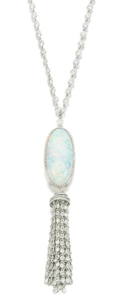 Opal and diamond sautoir, Michael Youssoufian.  The pendant set with a polished opal and tassel set with brilliant-cut diamonds, suspended from a chain of spectacle set similarly cut diamonds, length approximately 870mm, signed MY for Michael Youssoufian, case stamped M.Y. Via Sotheby's.