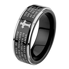 8mm Lord's Prayer Step Edge Men's Tungsten Wedding Band - Size 14. Free Exchange. Scratch Resistant. 100% Cobalt and Nickle Free. Comfort-Fit. Promptly Packaged with Free Gift Box and Gift Bag.
