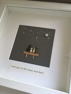 pebble art love you to the moon and back by CoastalCreationsSG Seashell Painting, Pebble Painting, Stone Painting, Box Frame Art, Box Frames, Box Art, Pebble Pictures, Stone Pictures, Art Pictures