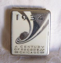 Vintage 1934 Chicago World Fair A Century of Progress Double Compact *Must See!