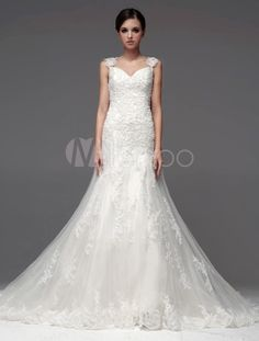 Pretty Straps Neck Beading A-line Bridal Wedding Gown - Milanoo.com