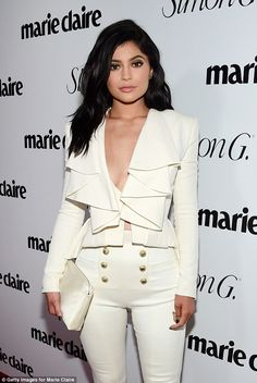 Kylie Jenner attends Marie Claire party in Hollywood in nothing but a velvet blazer | Daily Mail Online