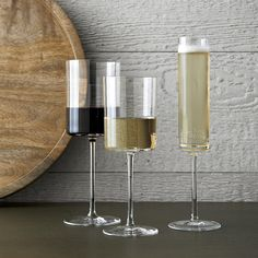 Shop Edge Wine Glasses. Cylindrical bowls with flat bases have a dramatic, contemporary look that lends an elegant edge to the enjoyment of wine.