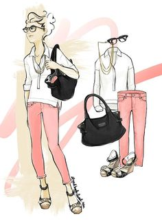 Fashion illustration of a crisp white pop over and soft washed peach pastel denim with a Kate Spade pebbled leather tote