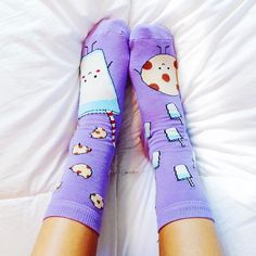 purple milk and cookie socks... Im obsessed  ps- new video on my channel sooOoo go watch!