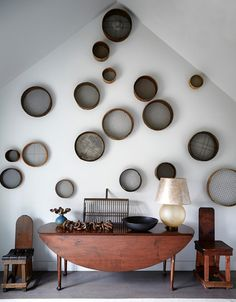 Collection of baskets as art  -  Water Mill, NY by Huniford Design Studio