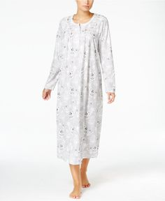 Charter Club Smocked Printed Knit Nightgown, Only at Macy's - Bras, Panties & Shapewear - Women - Macy's