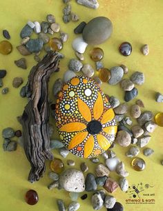 Sunflower Design on Natural Stone - Mandala Inspired Rock Art - ethereal & earth - otherworldly & of this world creations.