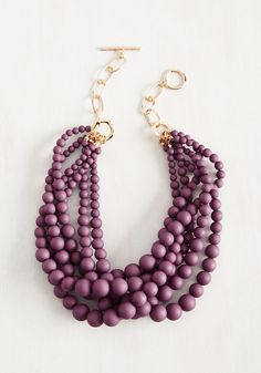 Burst Your Bauble Necklace in Grape. Everyone will be amazed with your fashion finesse when they witness the addition of this purple necklace to your ensemble. #red #modcloth