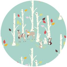 Emily Isabella for Birch Organic Fabrics, Yay Day, Birch Forest $8.25 for 1/2 a yard