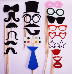 Photo booth Props. These plus a frog, hearts, speaking bubbles, etc
