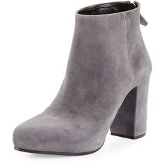 Prada Suede 85mm Ankle Boot (67.310 RUB) ❤ liked on Polyvore featuring shoes, boots, ankle booties, nebbia, pointed toe ankle boots, suede ankle booties, suede high heel boots, block heel booties and suede bootie