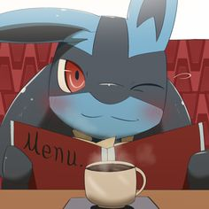 ambiguous_gender beverage black_fur blue_fur blush canine chigiri clothing coffee cup first_person_view food fur happy jackal long_ears lucario mammal nintendo one_eye_closed pokémon red_eyes sitting smile solo steam video_games wink Pokemon Comics, Pokemon Fan Art, My Pokemon, Cool Pokemon, Pokemon Stuff, Lucario Pokemon, Pokemon Waifu, Satoshi Pokemon, Best Pokemon Ever
