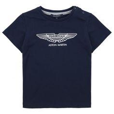 Aston Martin Baby Boys Navy T-Shirt with White Logo Print