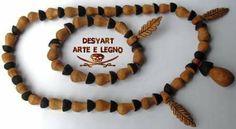 Collana e bracciale in legno di ulivo