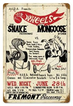 Vintage Snake vs Mongoose Metal Sign 12 x 18 Inches Fox Racing, Vespa Racing, Nhra Drag Racing, Auto Racing, Summit Racing, Logos Vintage, Vintage Ads, Vintage Labels, Vintage Advertisements