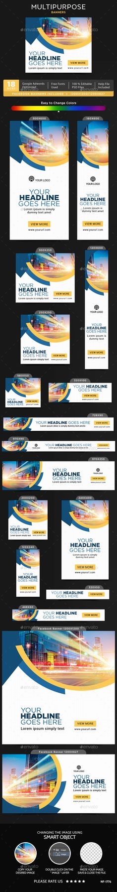 Multipurpose Banners — Photoshop PSD #coupon #discount • Available here → https://graphicriver.net/item/multipurpose-banners/19909696?ref=pxcr