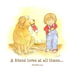 Childrens Wall Art Print  - A friend loves at all times illustration (Golden Retriever and little boy) Blue, Red via Etsy