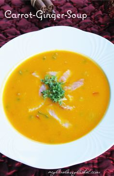 Carrots and sweet potatoes, fired up with some ginger. This abundance of flavor is completed with a wisp of spring onions and smoked salmon. Tomato Vegetable, Vegetable Stock, Carrot Ginger Soup, Smoked Salmon, Curries, Winter Time, Starters, Onions, Abundance