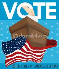 Ballot-Box with American Flag Around it Inviting you to Vote