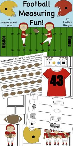 FREEBIE! Football Measuring Math Center