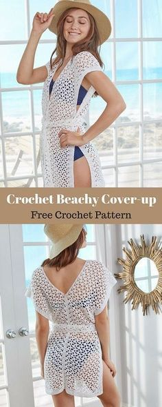 This cute cover-up is just the thing for a day at the beach! Or pair it with shorts and a tank top for a fun everyday look. #freecrochetpattern #freecrochet #crochet3 #easycrochet #patterncrochet #crochettricks #crochetitems #crocheton #thingstocrochet